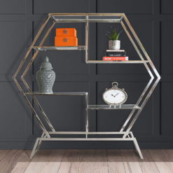 Lennox Hexagon Chrome Frame And Clear Glass Showcase Display Unit