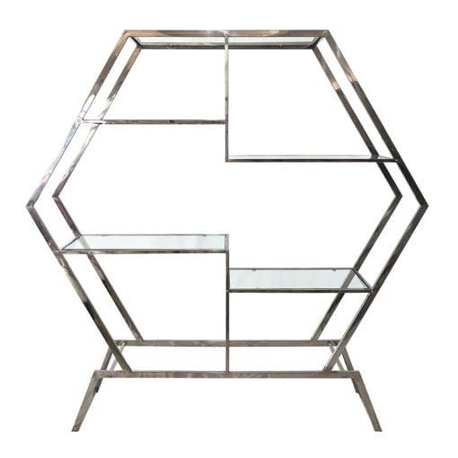 Lennox Hexagon Chrome Frame And Clear Glass Showcase Display Unit