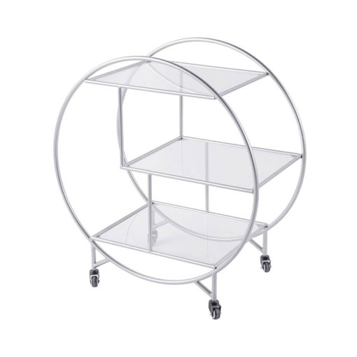 Lennox Steel and Clear Glass 3 Tier Round Drinks Trolley Display Unit