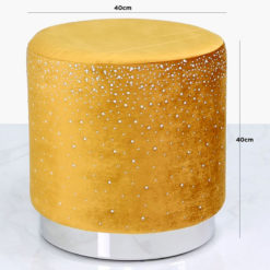 Mustard Yellow Round Stool With Velvet Fabric Adorned With Diamantes