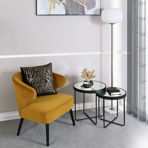 Nest Of 2 End Side Tables With Black Metal Frames And Mirrored Tops
