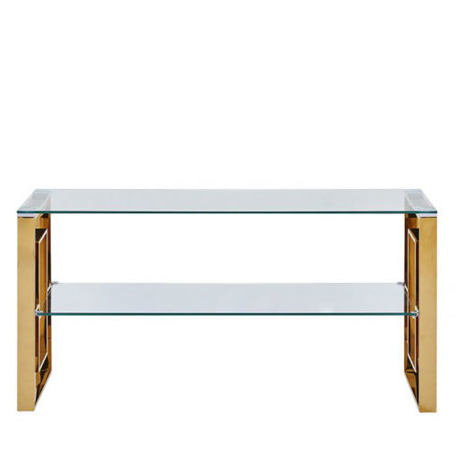 Plaza Gold And Clear Glass Entertainment Unit Media Unit TV Stand