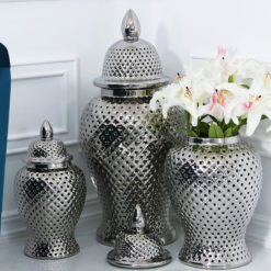 Silver Ceramic Ginger Jar Vase Home Decoration With Domed Lid 86cm