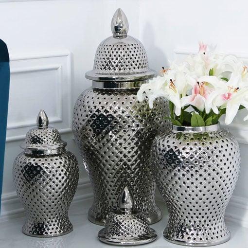 Silver Ceramic Ginger Jar Vase Home Decoration With Domed Lid 86cm