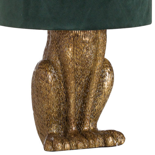 Antique Gold Hare Rabbit Bedside Table Lamp with Green Velvet Shade