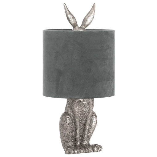 Antique Silver Hare Rabbit Bedside Table Lamp with Grey Velvet Shade