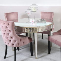 Athens Gold Round Mirrored Dining Table