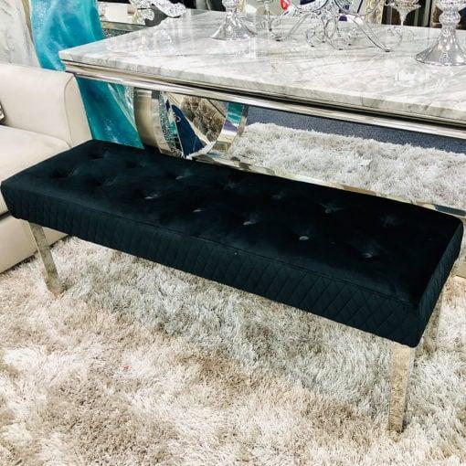 Camilla Black Velvet And Stainless Steel Tufted Hallway Bedroom Bench