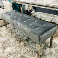 Camilla Grey Velvet And Stainless Steel Tufted Hallway Bedroom Bench