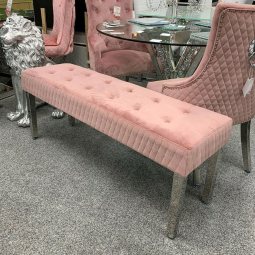Camilla Pink Velvet And Stainless Steel Tufted Hallway Bedroom Bench