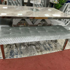 Camilla Silver Velvet And Stainless Steel Tufted Hallway Bedroom Bench