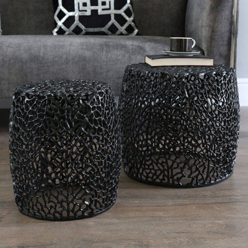 Coralie Set Of 2 Black Metal Side End Tables With A Coral Pattern