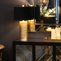 Honey Comb Gold Bedside Table Lamp With Round Black Velvet Light Shade