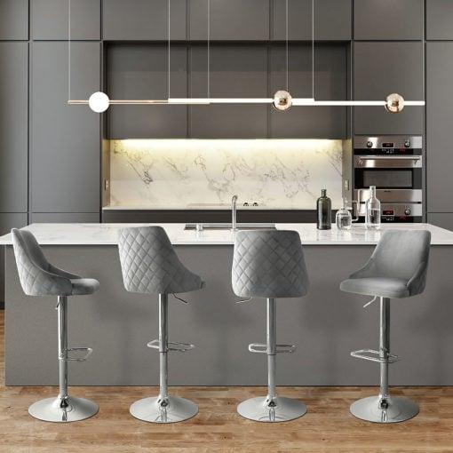 Jovi Grey Velvet Bar Stool Kitchen Stool