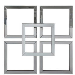 Large Geo Smoked And Silver Mirrored Glass Wall Art 90cm