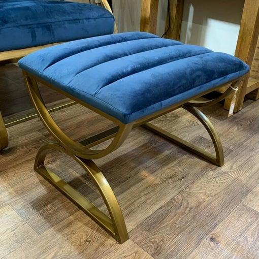 Luxury Navy Blue and Brass Footstool Upholstered Ribbed Velvet Stool