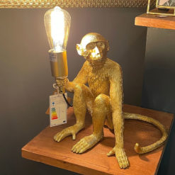 Quirky Statement Gold Monkey Ape Animal Resin Table Lamp Bedside Light