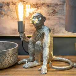Quirky Statement Silver Monkey Ape Animal Resin Table Lamp Bedside Light