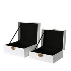 Set of 2 White Faux Stingray Leather Jewellery Storage Makeup Boxes