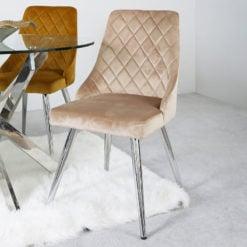 Skyla Champagne Velvet Dining Chair With Stainless Steel Legs