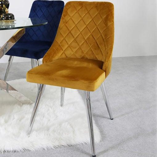 Skyla Mustard Velvet Dining Chair With Stainless Steel Legs