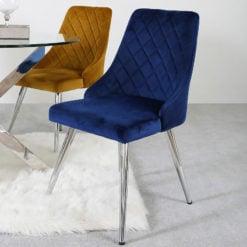 Skya Royal Blue Velvet Dining Kitchen Chair With Stainless Steel Legs