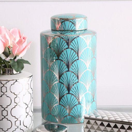 21cm Medium Silver and Blue Gingko Leaf Ginger Jar Home Decor Vase