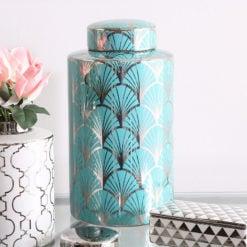 33cm Large Silver and Blue Gingko Leaf Ginger Jar Home Decor Vase