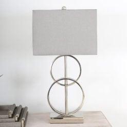 70cm Nickel Table Lamp With Grey Silk Shade