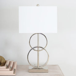 70cm Nickel Table Lamp With White Linen Shade