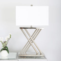 70cm X Nickel Table Lamp With White Silk Shade