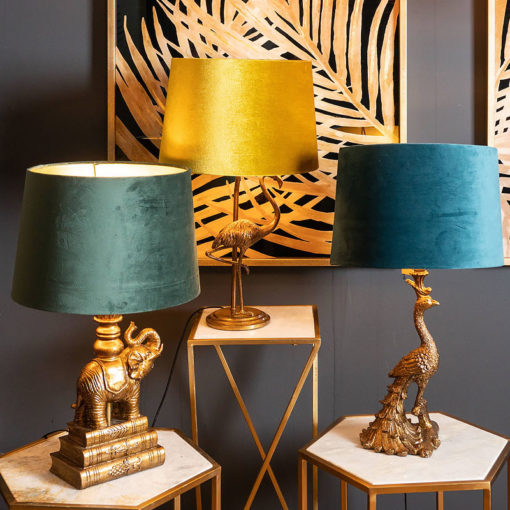 Antique Gold Peacock Lamp With Teal Velvet Shade