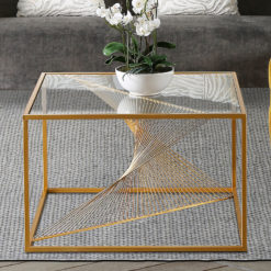 Ava Gold Metal And Clear Glass Coffee Table With Unique Design