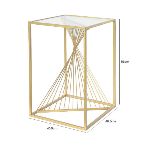 Ava Gold Metal And Clear Glass Side End Table With Unique Design