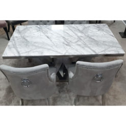 Camilla Grey Marble Top Dining Table With A High Gloss Base
