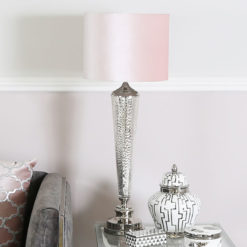 Chrome Glass Table Bedside Lamp With Round Pink Velvet Light Shade
