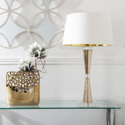 Gold Crystal Table Lamp With Cream White Shade
