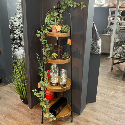 Industrial Style Wood And Black Metal Round Display Shelf Plant Stand