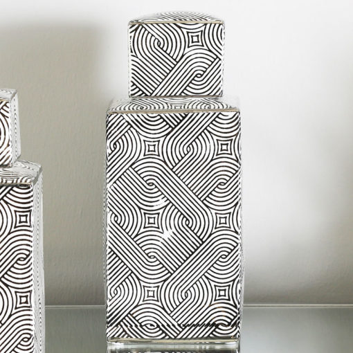 Large Black And White Ceramic Ginger Jar Vase Decoration 27cm