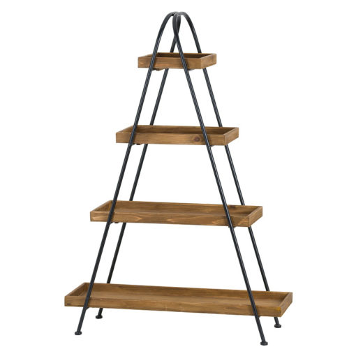 Large Industrial Style Wood And Black Metal Display Shelf Plant Stand