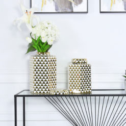 Large White And Gold Ceramic Ginger Jar Vase Home Decoration 30cm