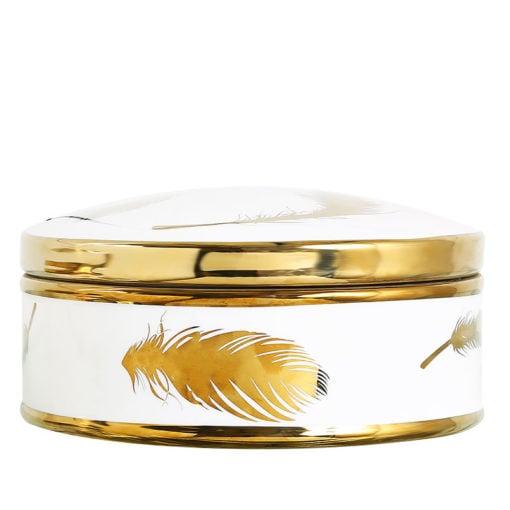 Large White And Gold Trinket Box Jewellery Box