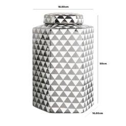 Large White And Silver Ceramic Ginger Jar Vase Home Decoration 30cm