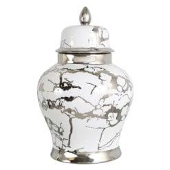 Large White And Silver Ceramic Ginger Jar Vase Home Decoration 41cm