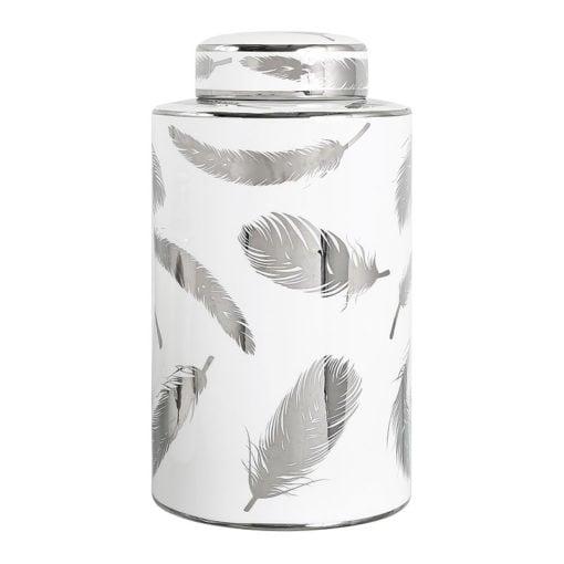 Large White And Silver Leaf Ceramic Ginger Jar Vase Decoration 30cm