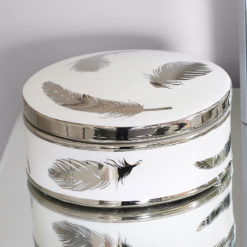 Large White And Silver Trinket Box Jewellery Box