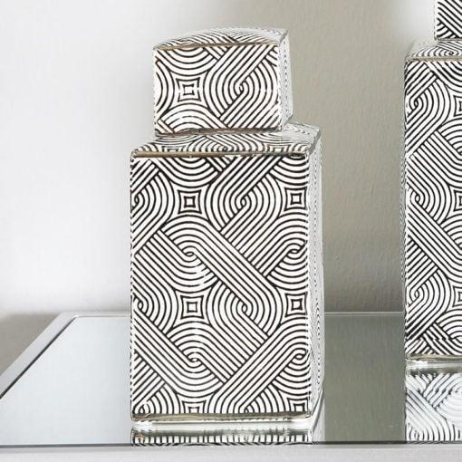 Medium Black And White Ceramic Ginger Jar Vase Decoration 23cm