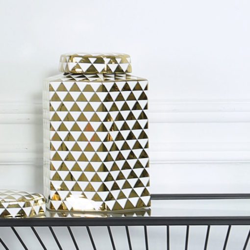 Medium White And Gold Ceramic Ginger Jar Vase Home Decoration 24cm
