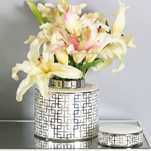 Medium White And Silver Ceramic Ginger Jar Vase Home Decoration 19cm