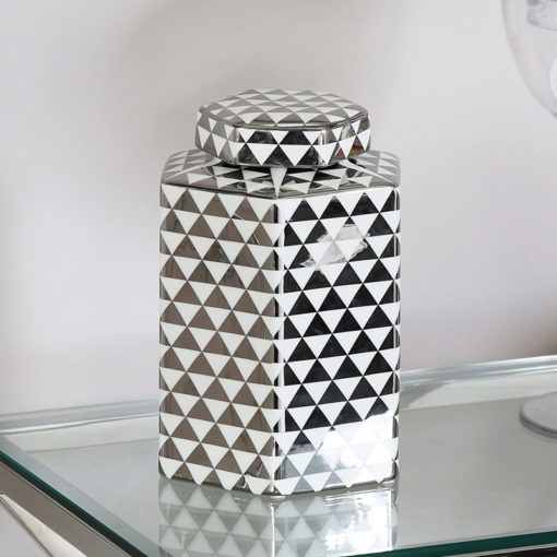 Medium White And Silver Ceramic Ginger Jar Vase Home Decoration 24cm